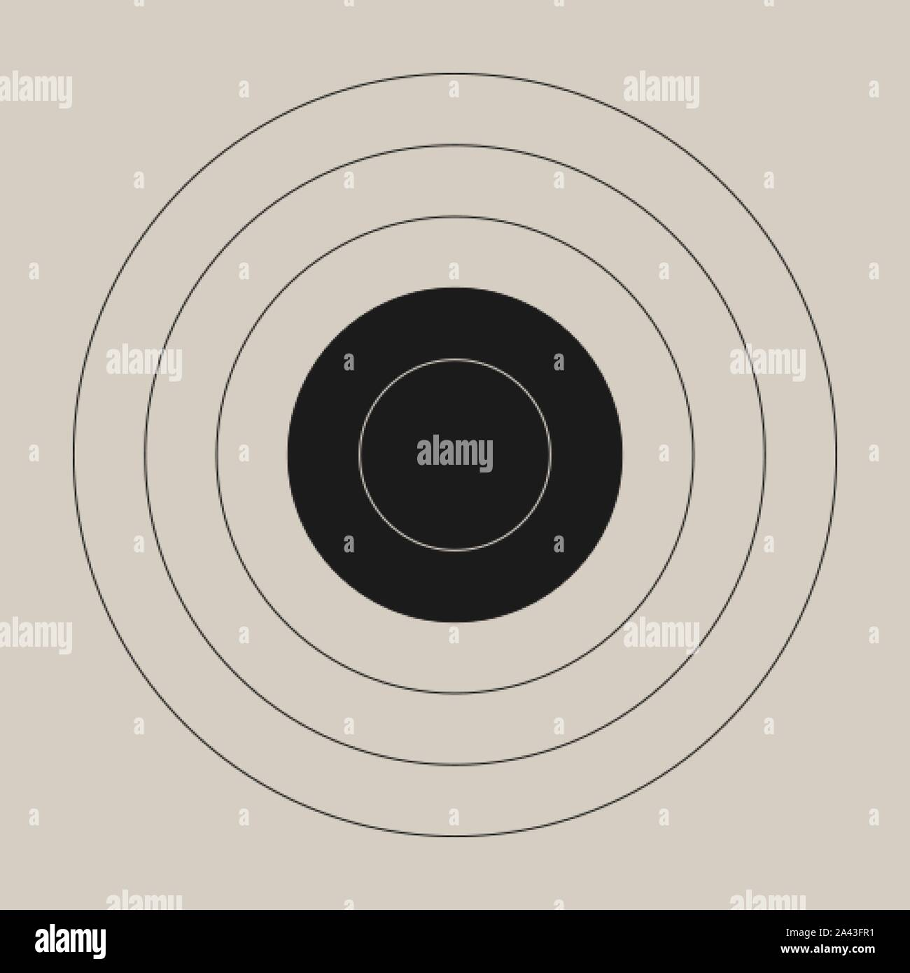 Vintage template of the round shooting target for a gun range Stock Vector