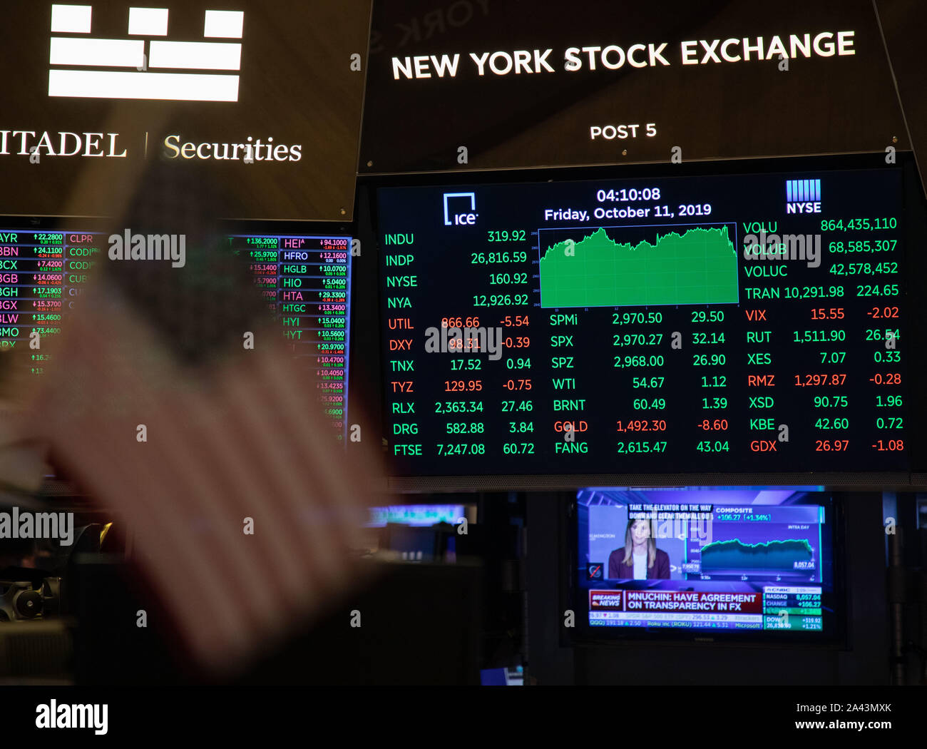 New York, USA. 11th Oct, 2019. Electronic screens show the trading data at the New York Stock Exchange in New York, the United States, on Oct. 11, 2019. U.S. stocks rallied on Friday. The Dow closed up 1.21 percent to 26,816.59, the S&P 500 rose 1.09 percent to 2,970.27, and the Nasdaq increased 1.34 percent to 8,057.04. Credit: Guo Peiran/Xinhua/Alamy Live News Stock Photo