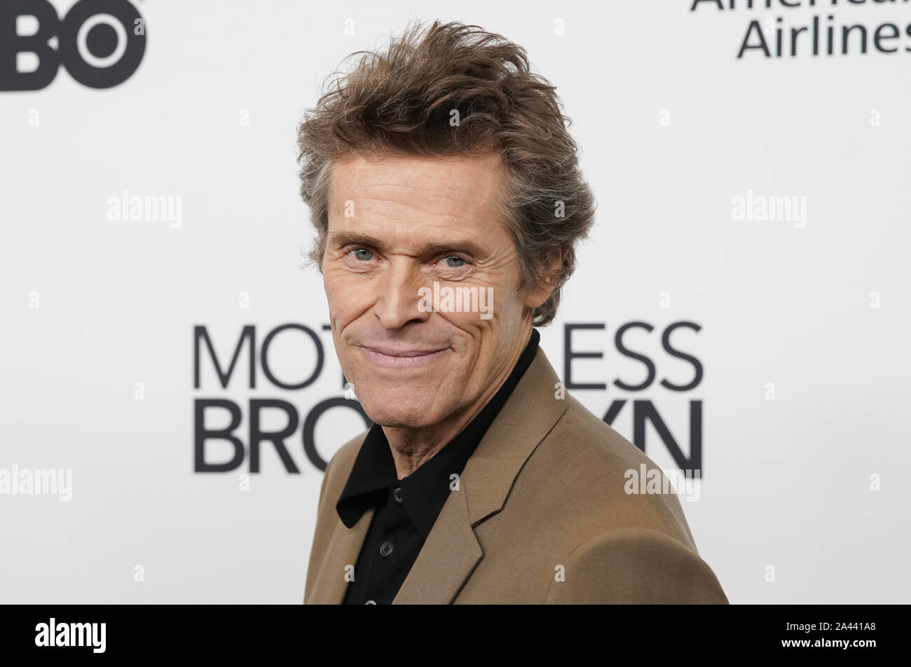 """New York, United States. 11th Oct, 2019. Willem Dafoe arrives on the red carpet at the """"Motherless Brooklyn"""" premiere during the 57th New York Film Festival in New York City on Friday, October 11, 2019. Photo by John Angelillo/UPI Credit: UPI/Alamy Live News Stock Photo"""
