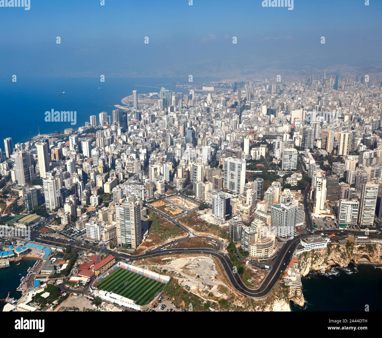 Beirut, Aerial View of the city and its famous Pigeon Rocks - Lebanon Stock Photo