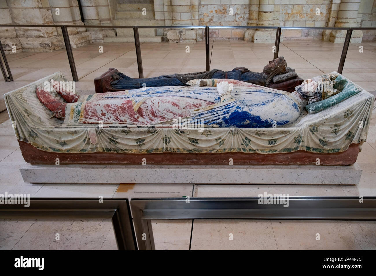 Burial effigy of King Richard the Lionheart, Coeur de Lion,  at Abbey of Fontevraud, Loire, France. He was buried at the abbey with other Plantagenet Stock Photo