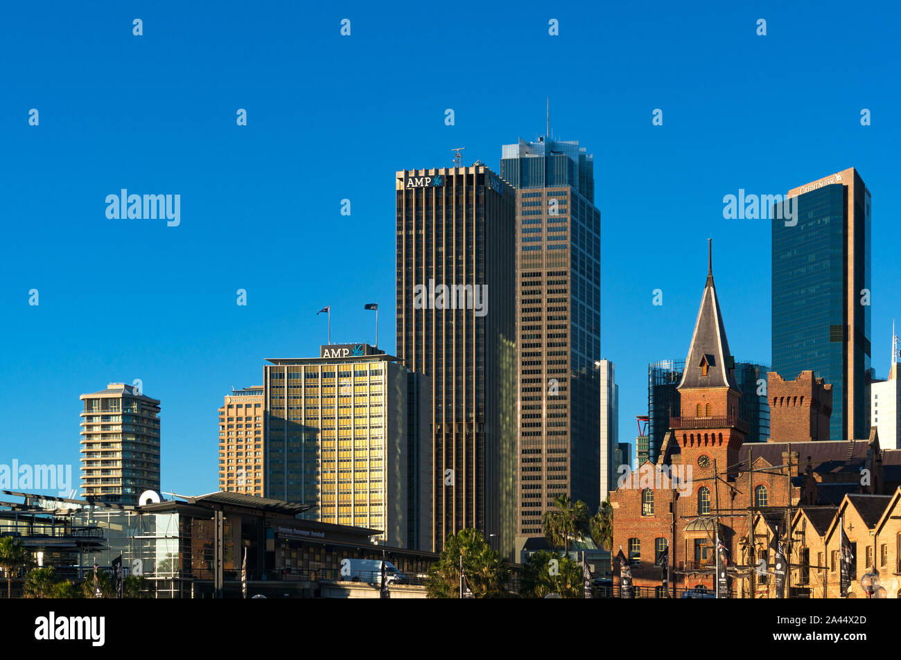 Sydney, Australia - Jul 23, 2016: Sydney Central Business District skyline with AMP building and Australasian Steam Navigation Co. building facade Stock Photo