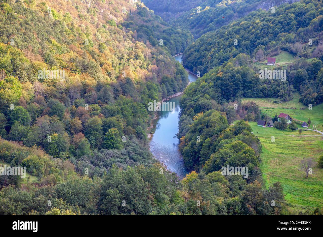 Mountains and Tara river canyon in Durmitor Stock Photo