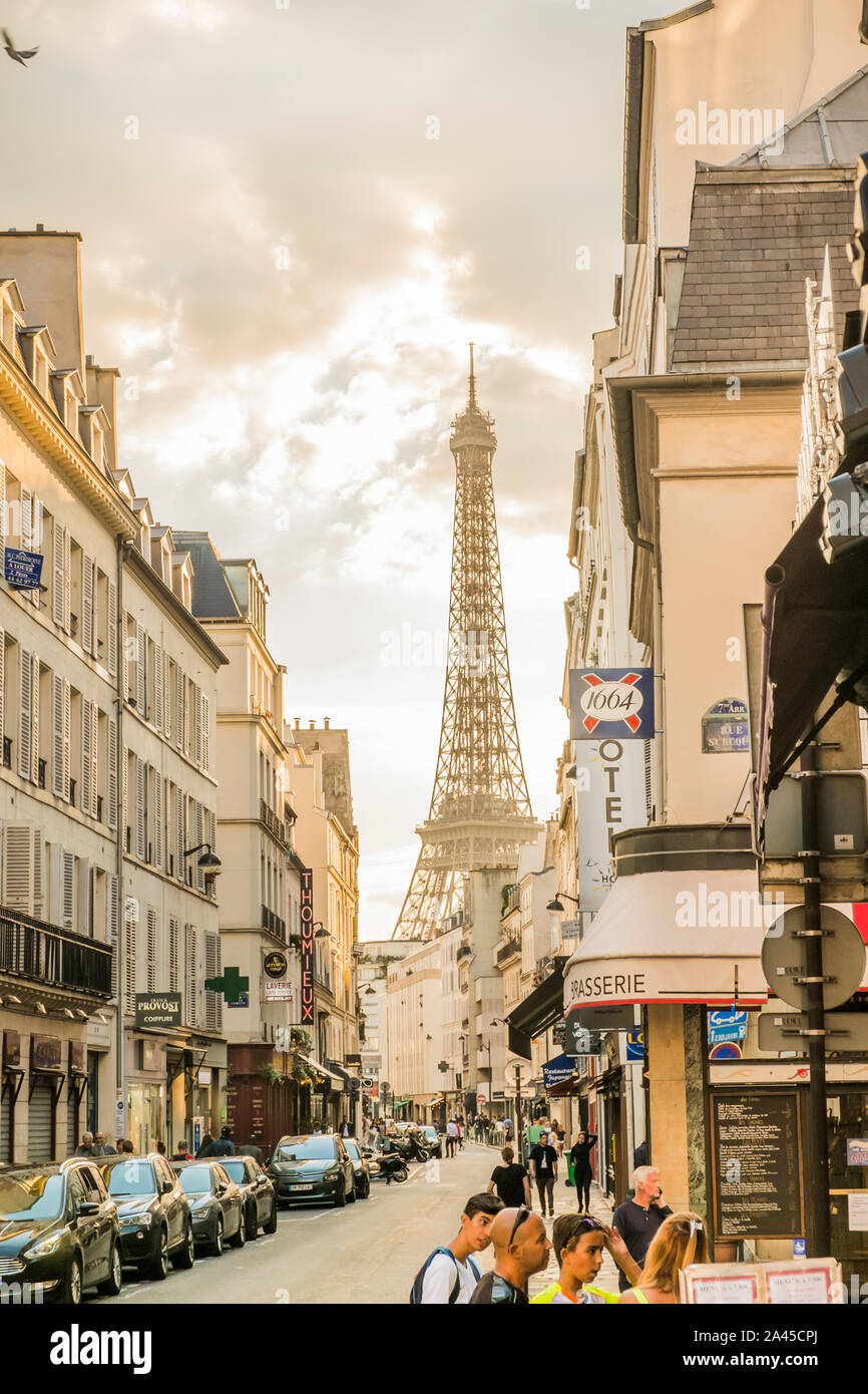 street scene with eiffel tower  in background Stock Photo