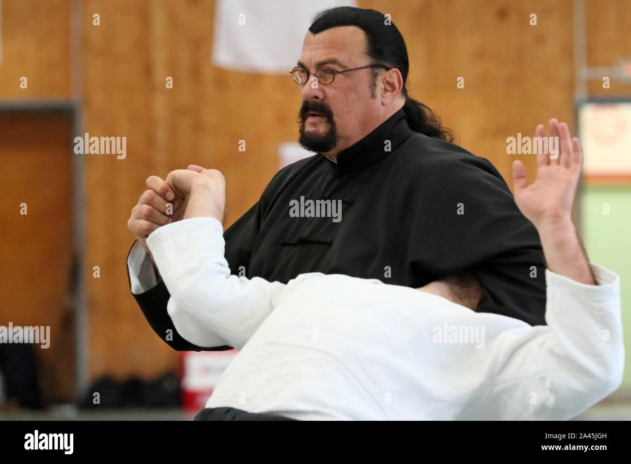 Moscow Russia October 12 2019 American Actor And Martial Artist Steven Seagal Back Gives An Aikido
