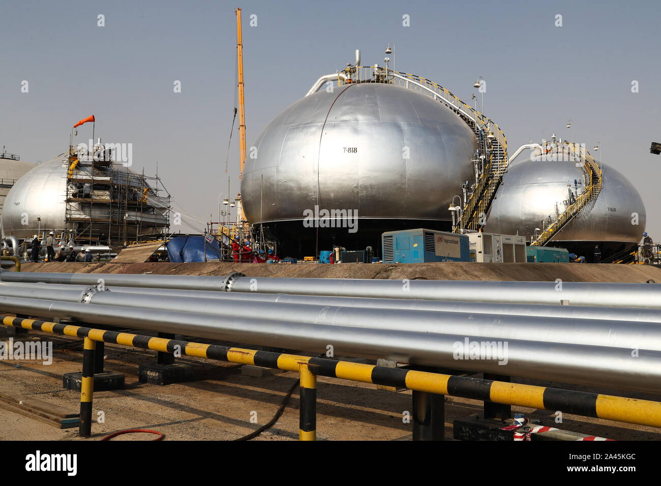 EASTERN PROVINCE, SAUDI ARABIA - OCTOBER 12, 2019: Damaged objects at an oil processing facility of Saudi Aramco, a Saudi Arabian state-owned oil and gas company, at the Abqaiq oil field. On 14 September 2019, two of the major Saudi oil facilities, Abqaiq and Khurais, suffered massive attacks of explosive-laden drones and cruise missiles; the Houthi movement, also known as Ansar Allah, claimed responsibility for the attacks. Stanislav Krasilnikov/TASS Stock Photo