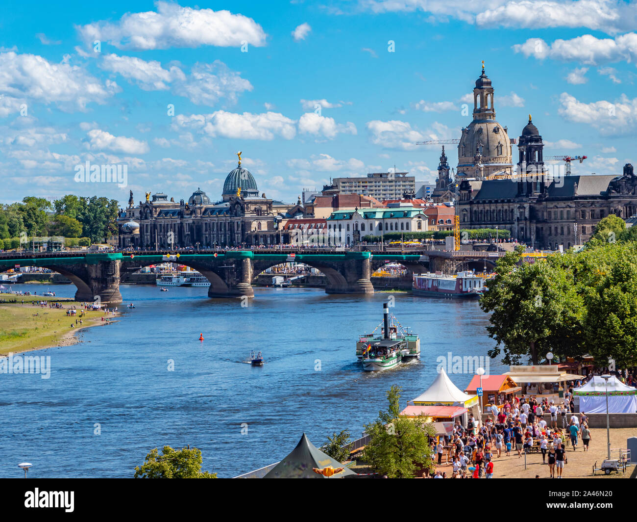 View of the Elbufer from Dresden Stock Photo