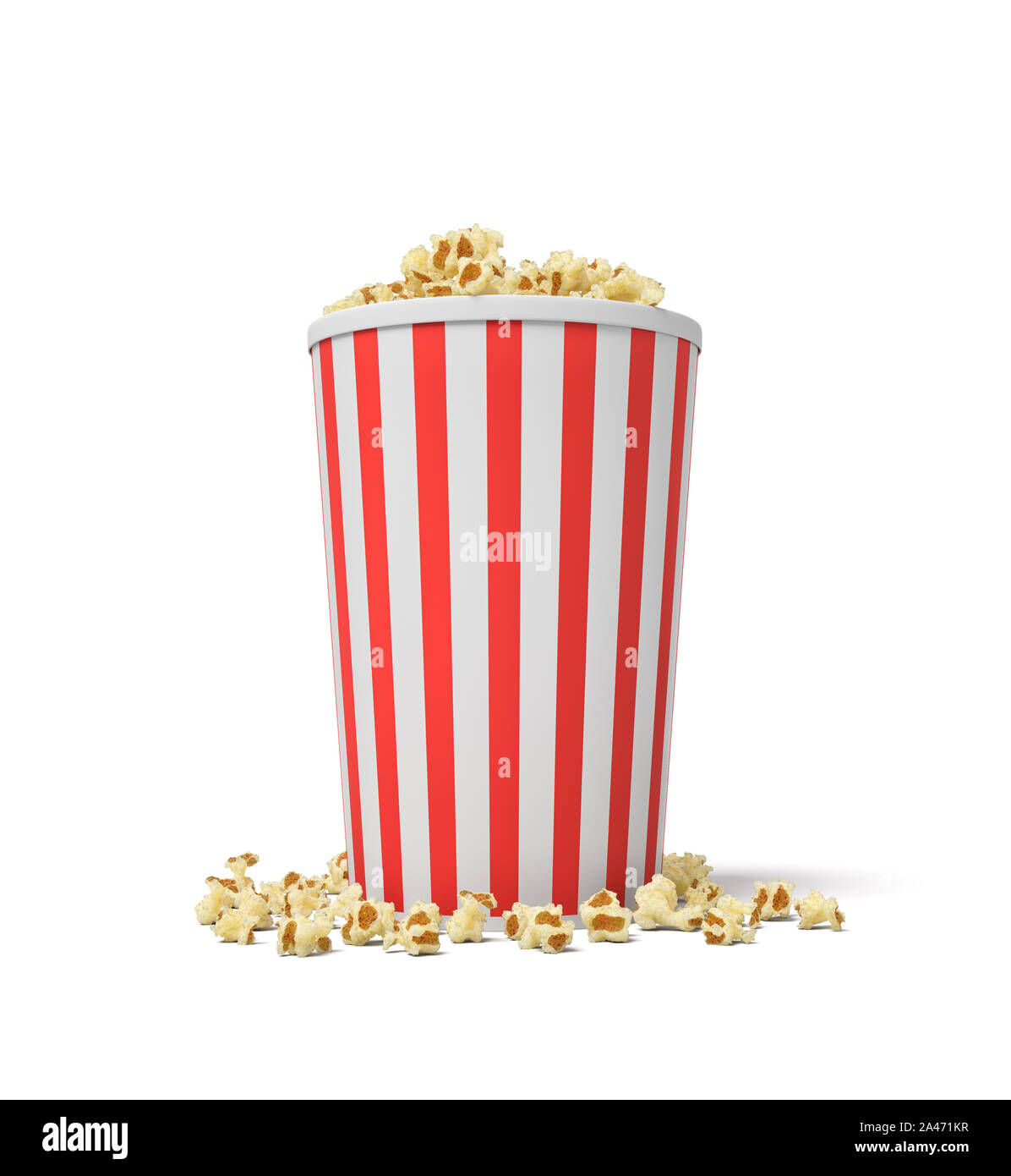 3d Rendering Of A Single Small Popcorn Bucket In Red And White Stripes With Popcorn Overflowing Of It Cinema Night Watching Movies Tasty Snack Stock Photo Alamy