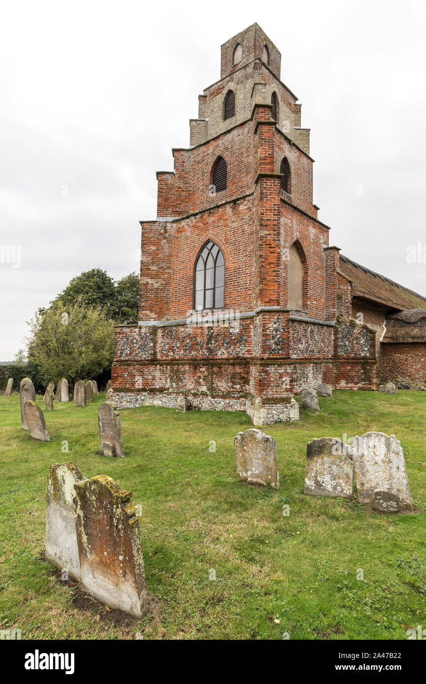 Burgh St Peter Church with supposed telescopic tower, Waveney, Norfolk Broads, Norfolk, England, UK Stock Photo