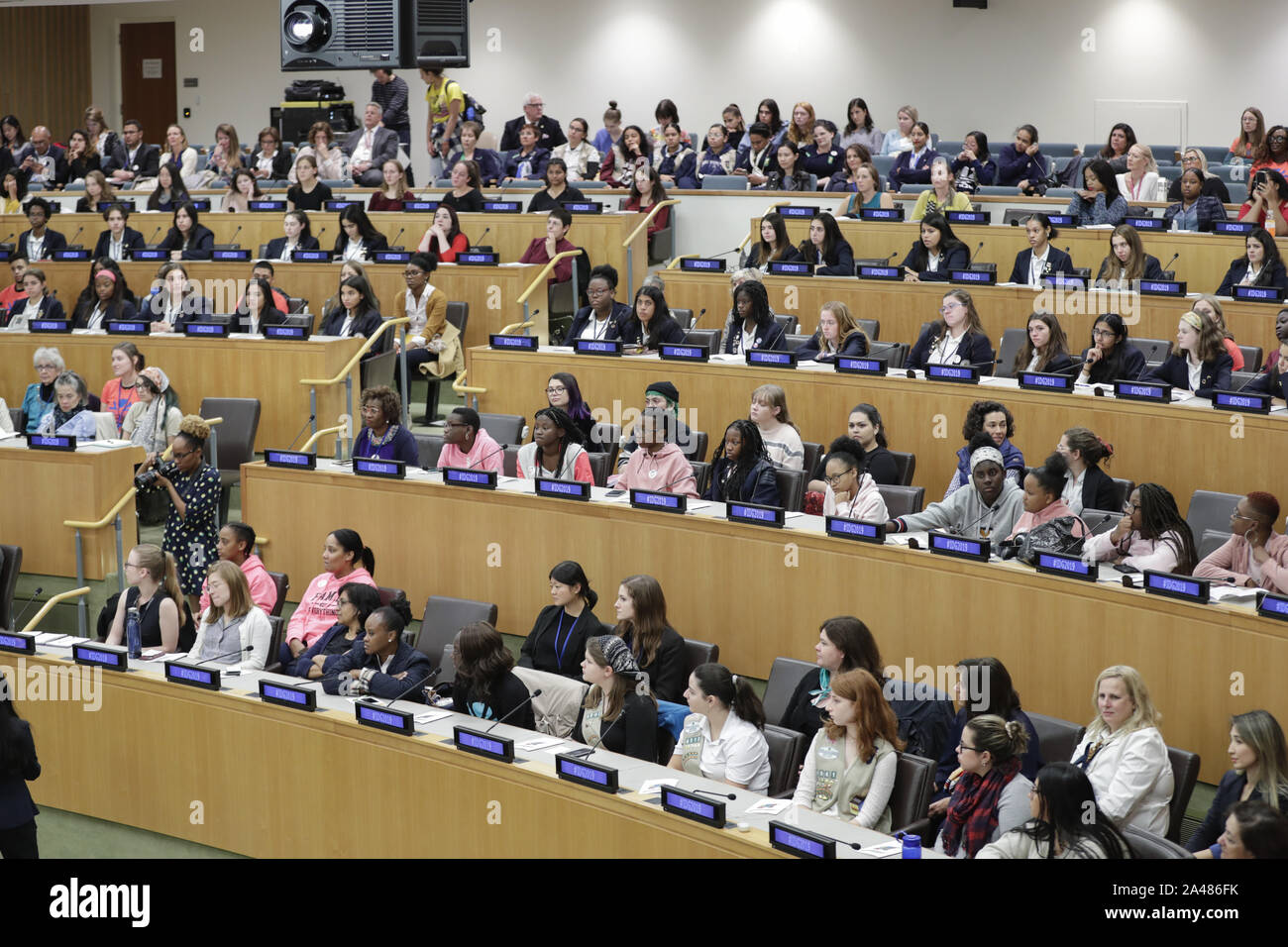 """New York, NY, USA. 11th Oct, 2019. United Nations, New York, USA, October 11, 2019 - 7th Annual """"Girls Speak Out"""""""" in celebration of the International Day of the Girl Child today at the UN Headquarters in New York.Photo: Luiz Rampelotto/EuropaNewswire.PHOTO CREDIT MANDATORY. Credit: Luiz Rampelotto/ZUMA Wire/Alamy Live News Stock Photo"""