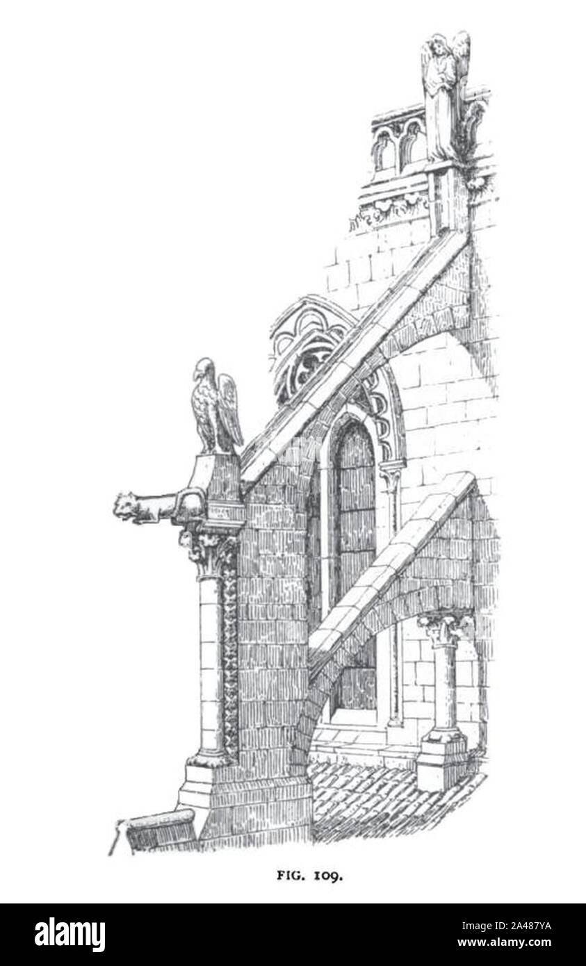 Fig 109 -Flying Buttress and Clerestory of Burgos Cathedral. Stock Photo
