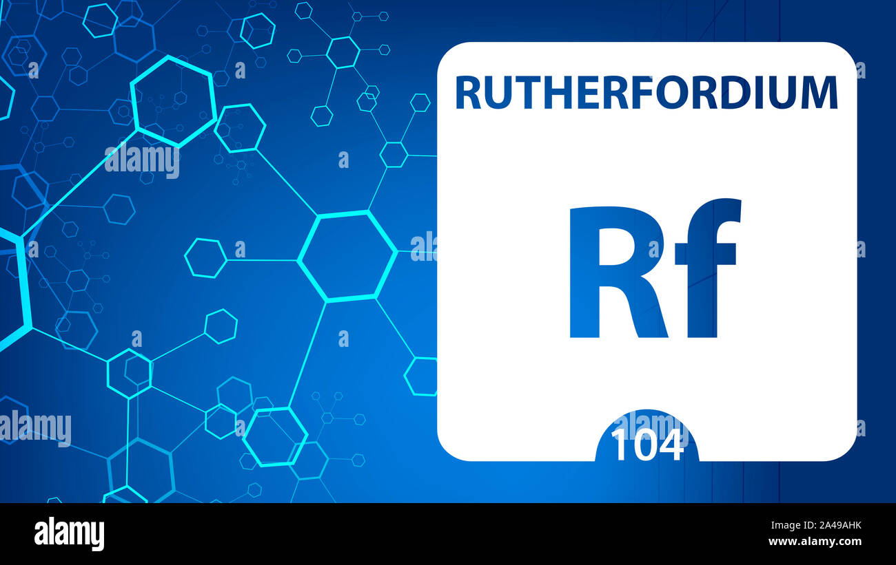 Rutherfordium 104 element. Alkaline earth metals. Chemical Element of Mendeleev Periodic Table. Rutherfordium in square cube creative concept. Chemica Stock Photo