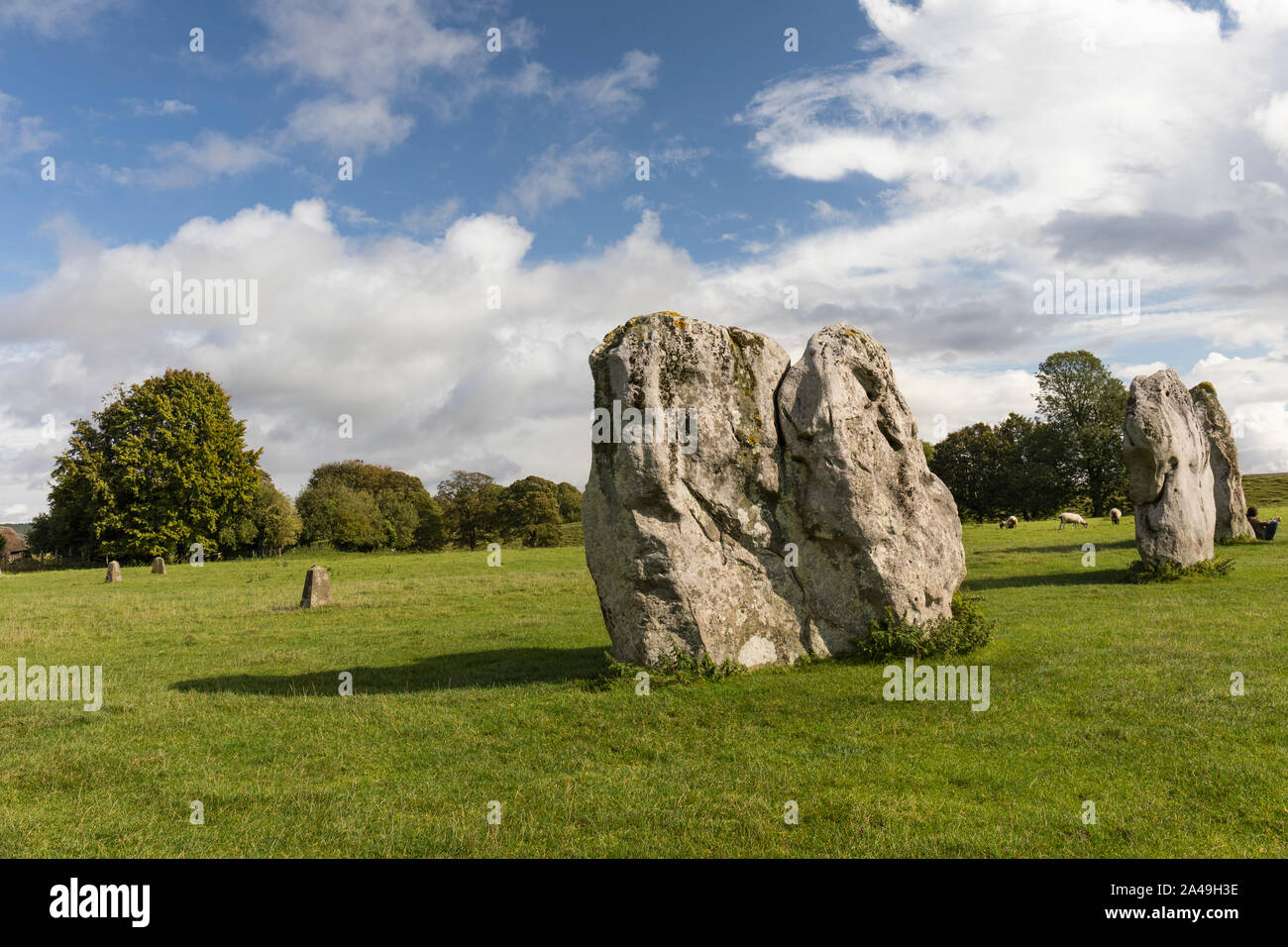 Standing stones at Avebury, Wiltshire a UNESCO World Heritage Site Stock Photo