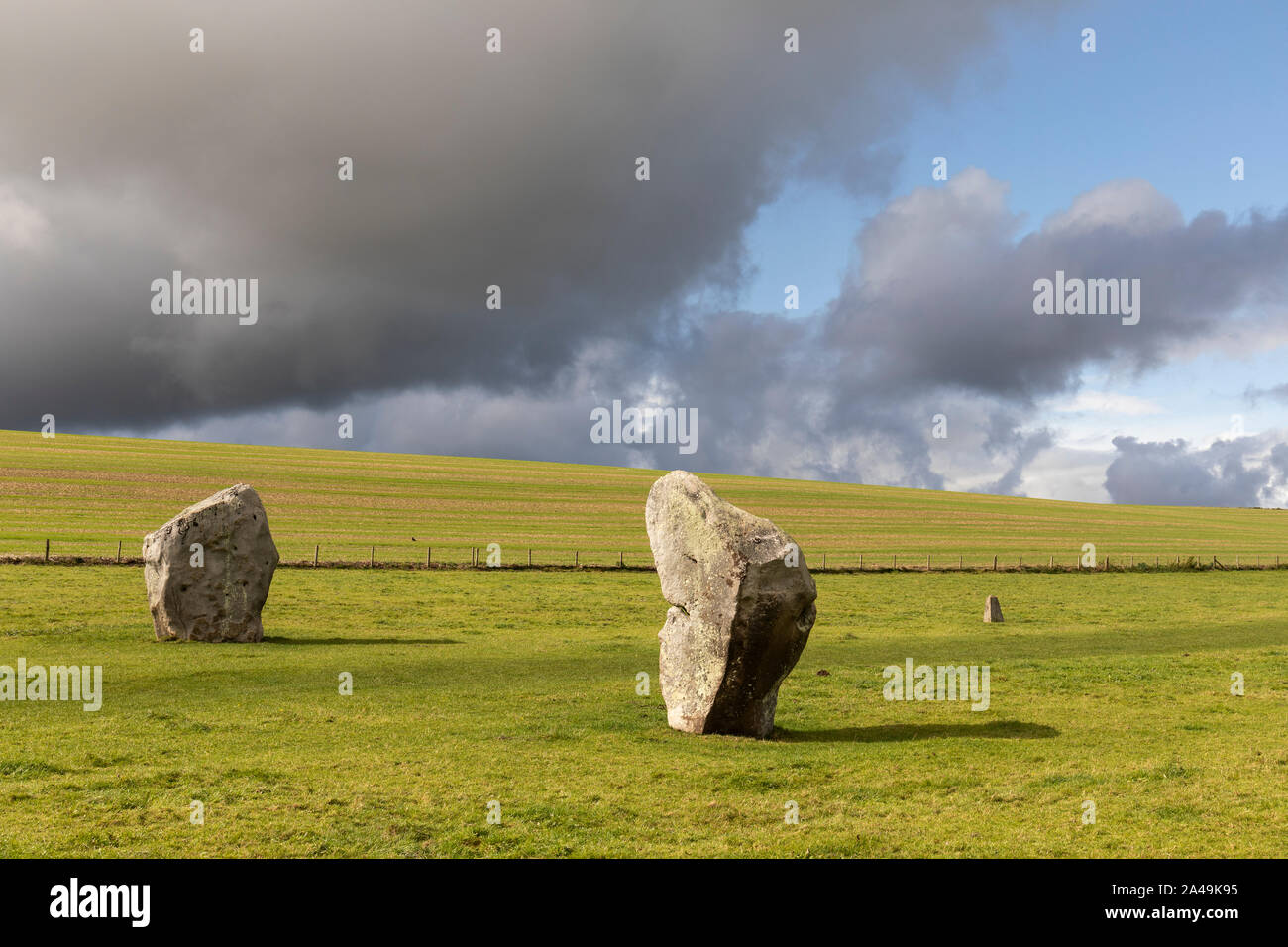 Standing stones at West Kennet Avenue, Avebury, Wiltshire, UK Stock Photo