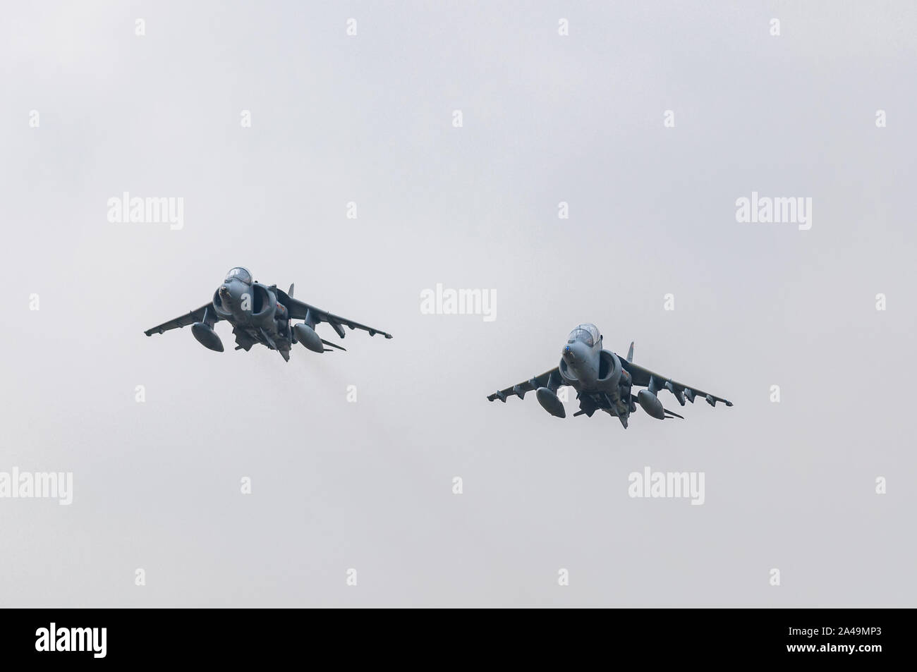 Two RAF Harrier GR9 fighter jets on their last flight on an overcast day, 15th December 2010, RAF Cottesmore Stock Photo