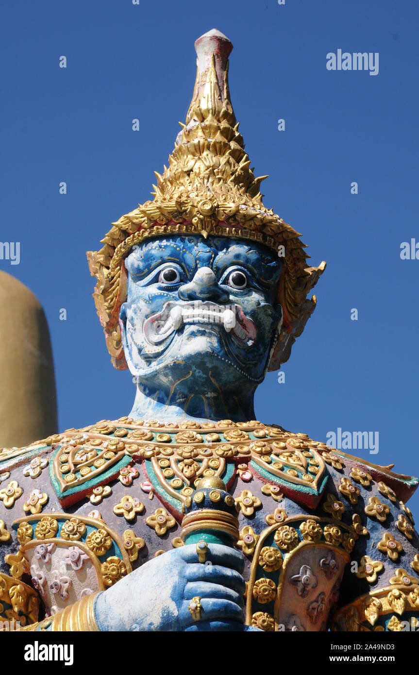 Dvarapala, otherwise known as a dvarpalaka, at Wat Phra That Doi Kham, Chiang Mai ,Thailand Stock Photo