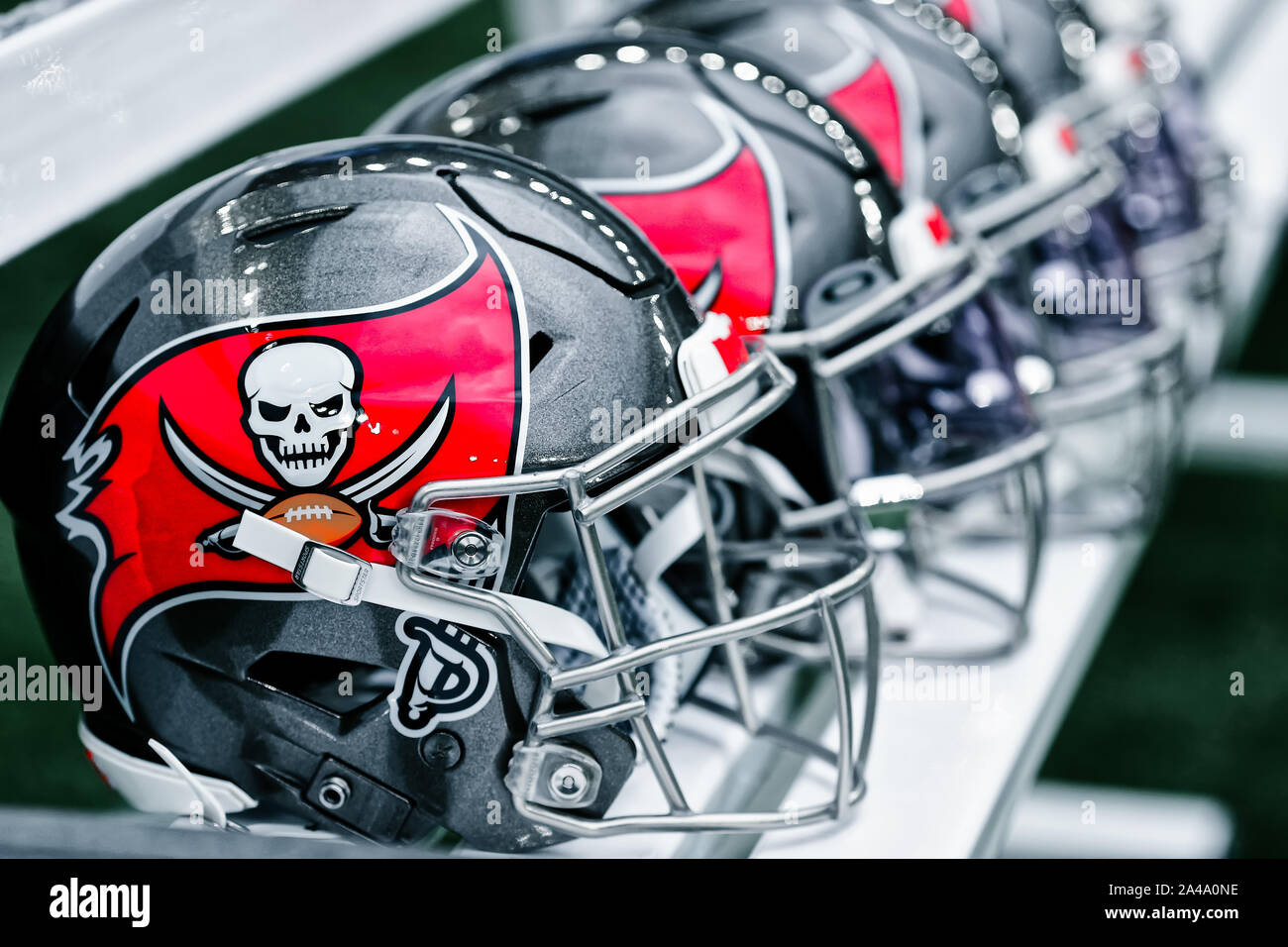 Tottenham Hotspur Stadium, London, UK. 13th Oct, 2019. National Football League, Carolina Panthers versus Tampa Bay Buccaneers; Tampa Bay Buccaneers helmets sit prepared for the game - Editorial Use Credit: Action Plus Sports/Alamy Live News Stock Photo