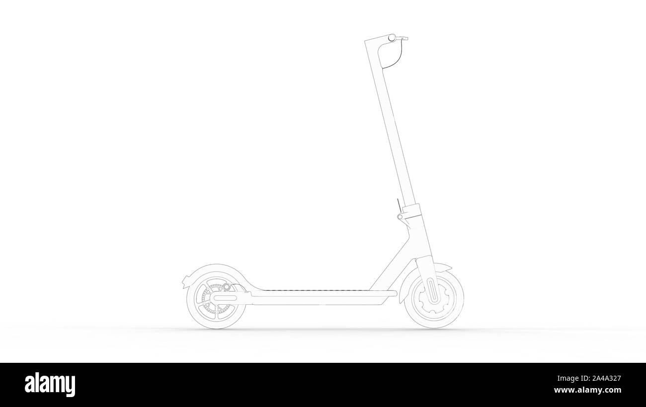 3d Rendering Multiple Technical Drawing Views Of An Electric Scooter Stock Photo Alamy