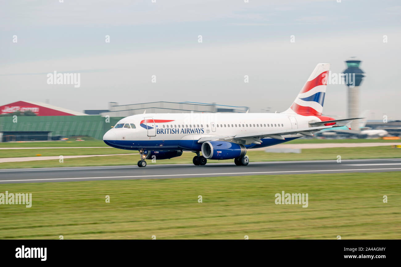 British Airways, Airbus, A319-131, G-EUPY rolling for take off, at Manchester Airport Stock Photo