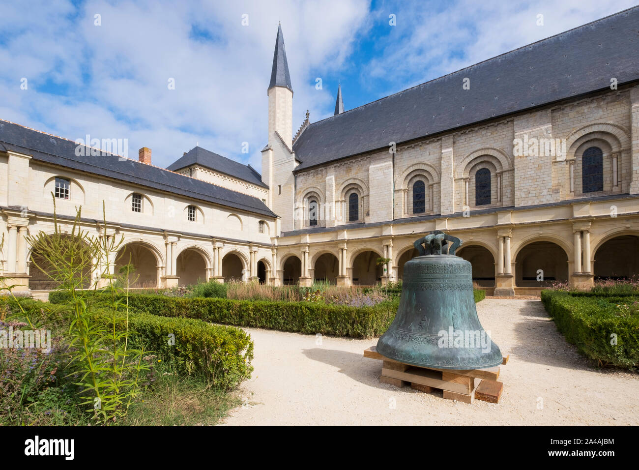 Cloisters and garden at Royal Abbey of Fontevraud, Loire, France. Burial place of Plantagenet kings and queens Stock Photo