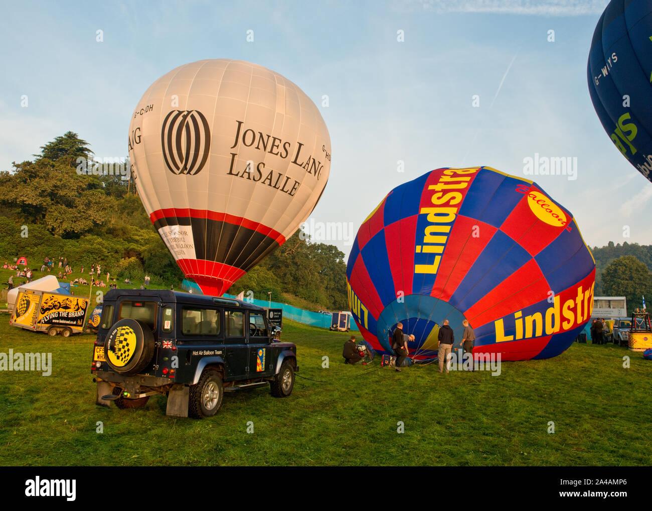 Lindstrand hot air balloon being inflated. Bristol International Balloon Fiesta, England Stock Photo