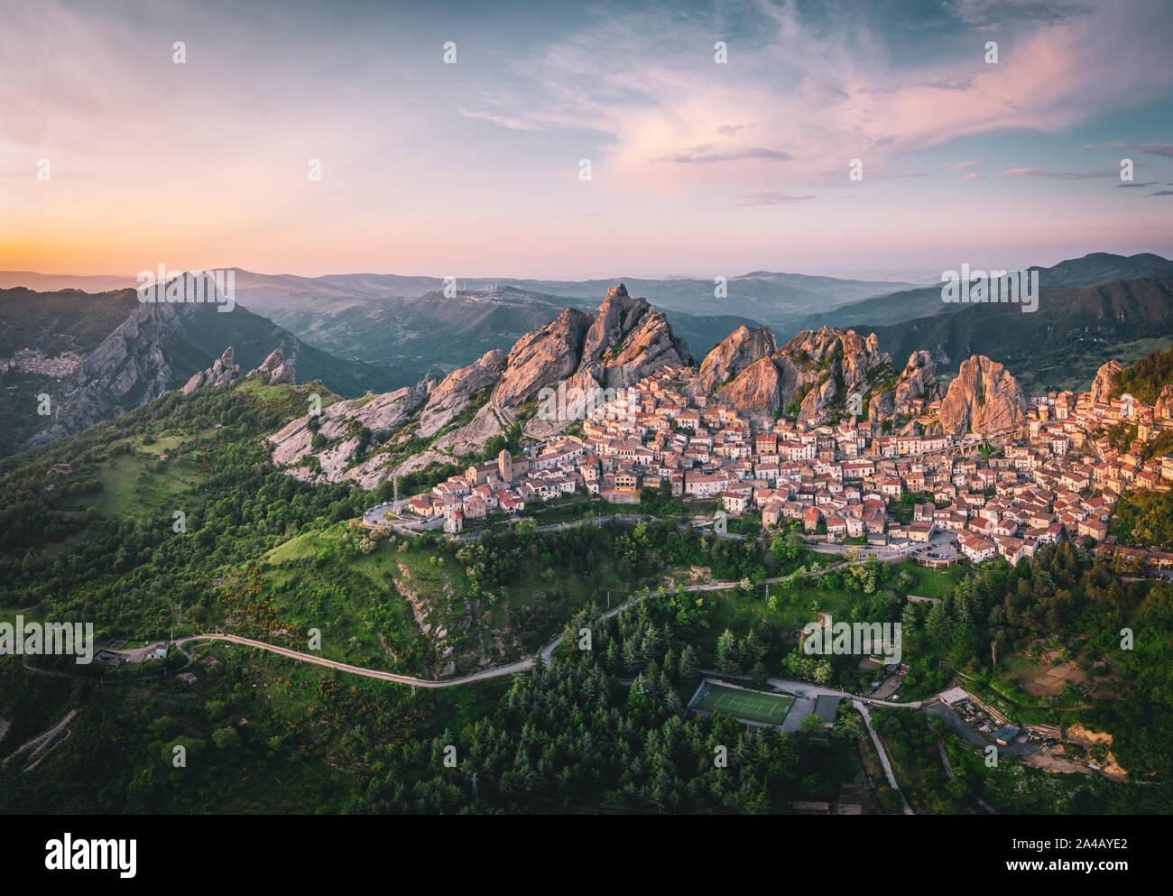Aerial view of Pietrapertosa rural village in Apennines Dolomiti Lucane. Basilicata, Italy, at sunset Stock Photo