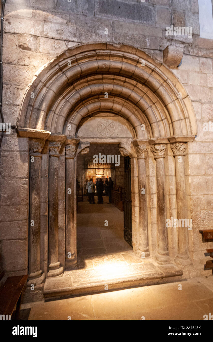 Monastery of Leyre,  Romanesque architecture in Navarre, Spain Stock Photo