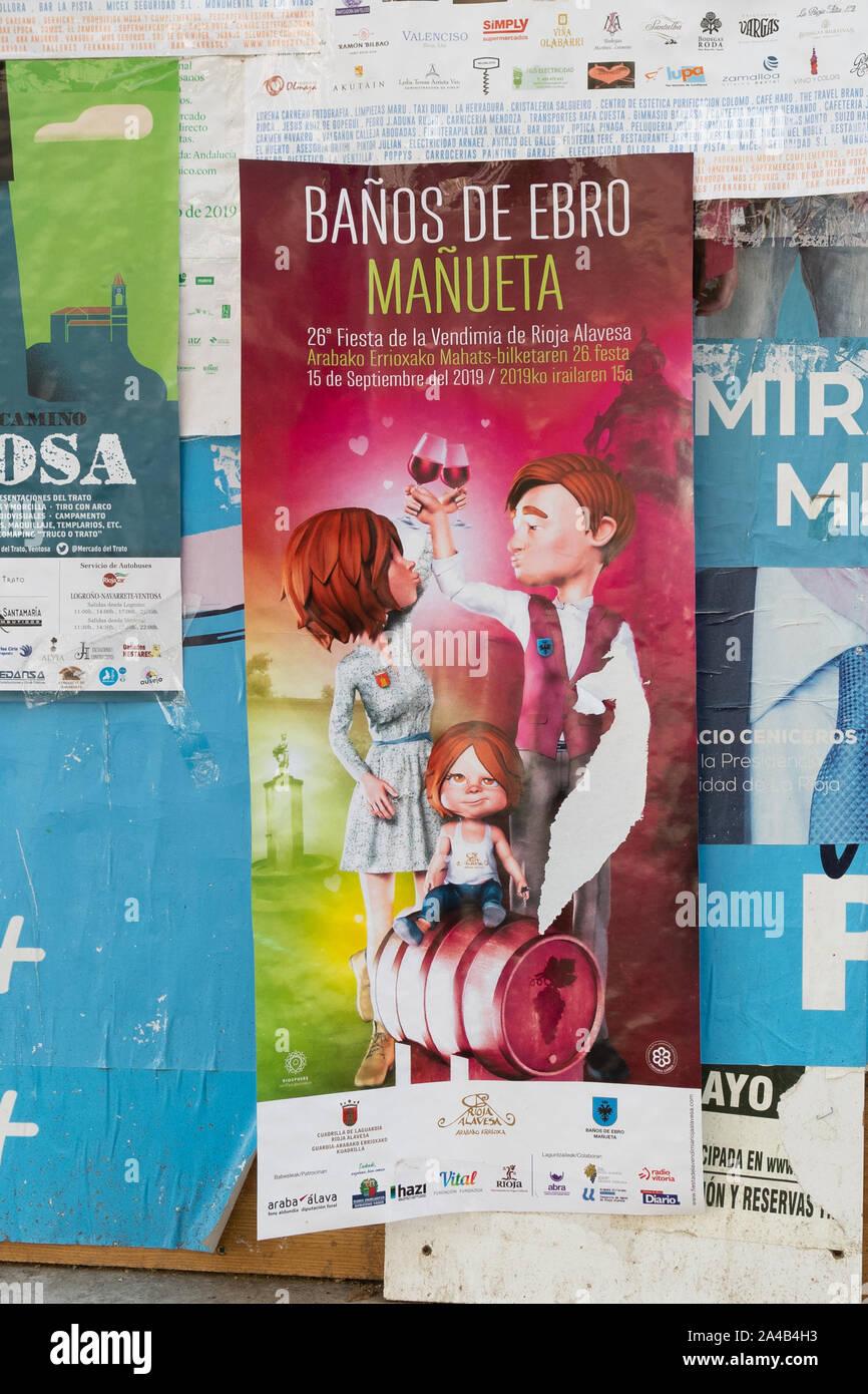 wine harvest festival advertising poster - Haro, Spain, Europe Stock Photo