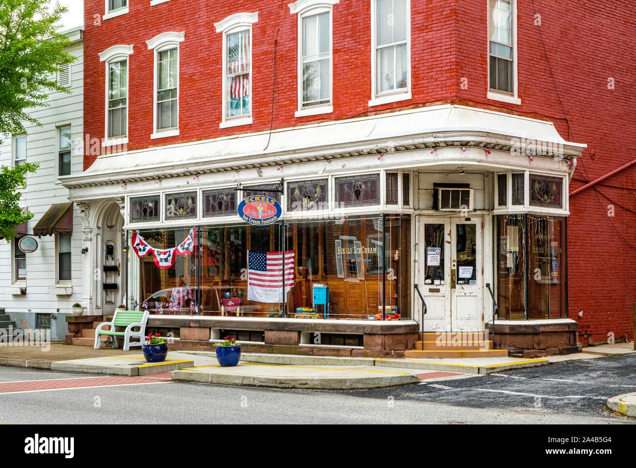 Eckels Ice Cream Fountain, 36 East Main Street, Mechanicsburg, Pennsylvania Stock Photo