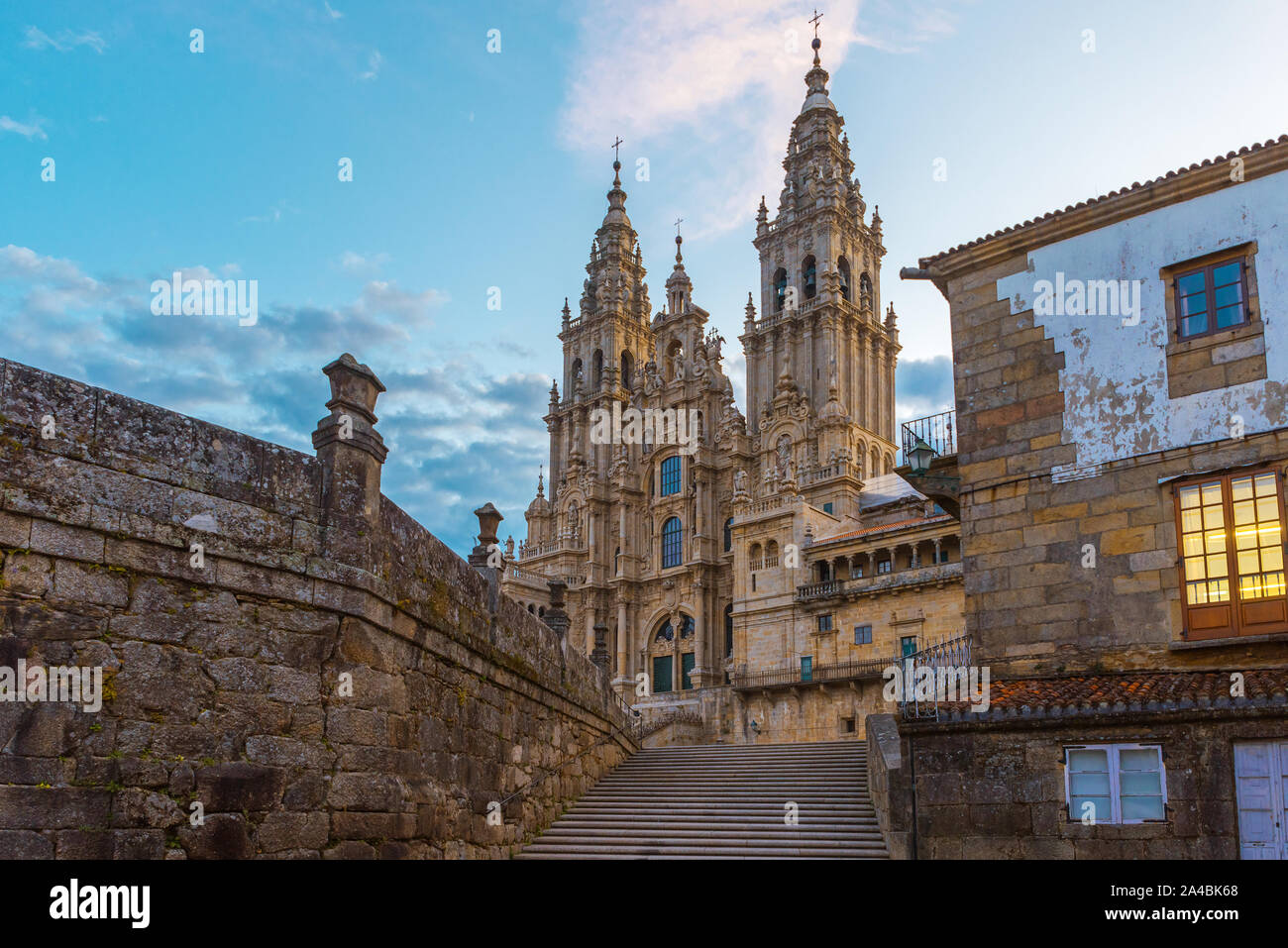 Old gothic Santiago de Compostela Cathedral, Galicia, Spain in the morning Stock Photo