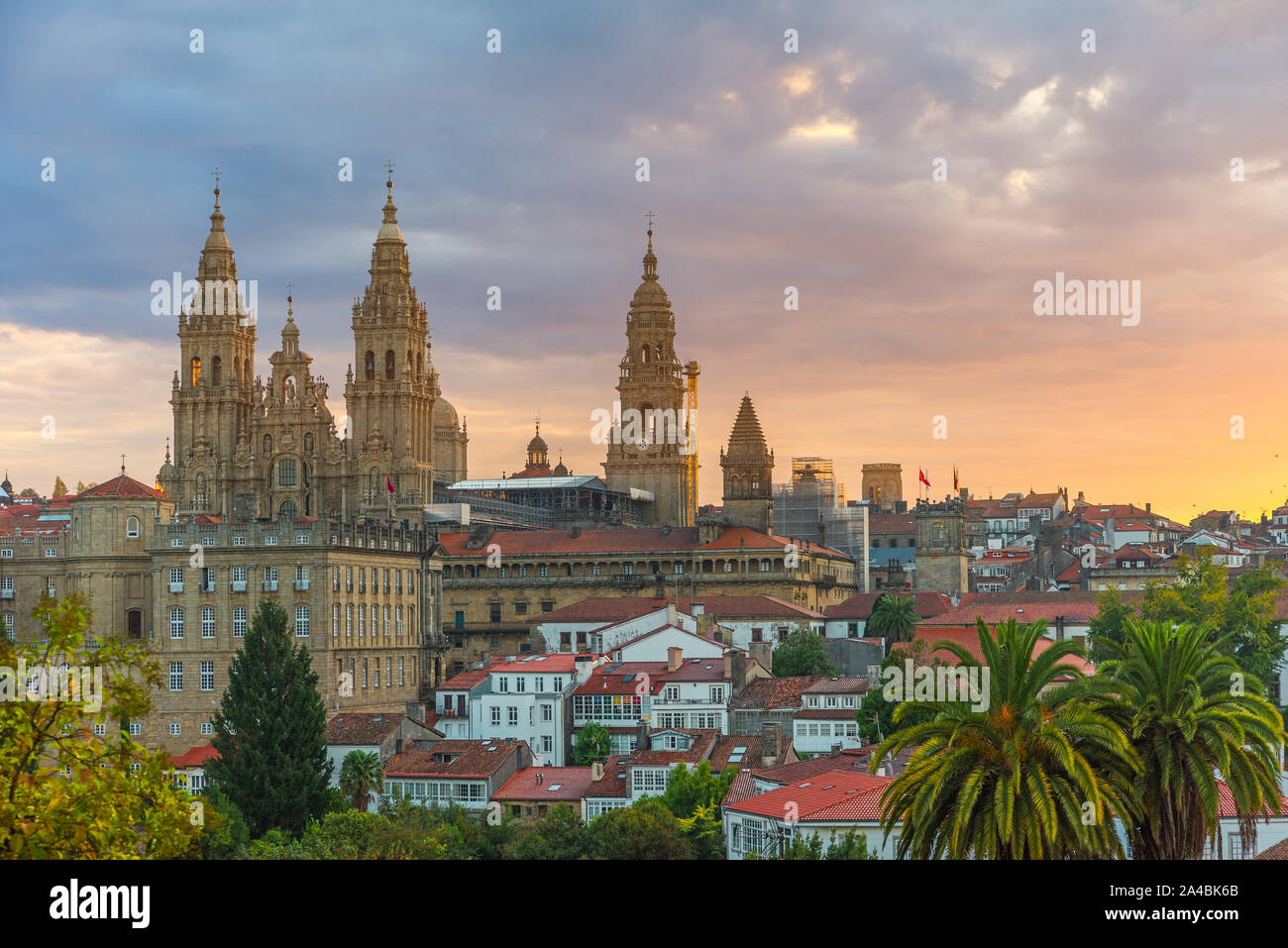 Aerial view on Santiago de Compostela Cathedral, Galicia, Spain in sunrise Stock Photo