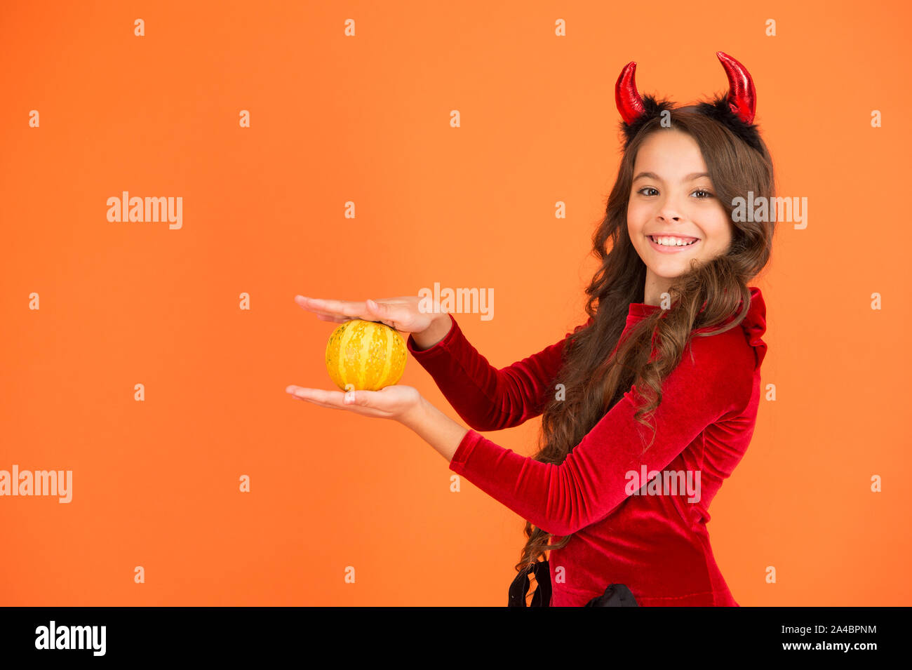 Halloween Party Traditions.Jack Lantern Concept Prepare Decorations Small Child Imp Style Accessory Hold Pumpkin Halloween Party Halloween Traditions Autumn Holiday Little Girl Cute Small Horns Celebrate Halloween Stock Photo Alamy