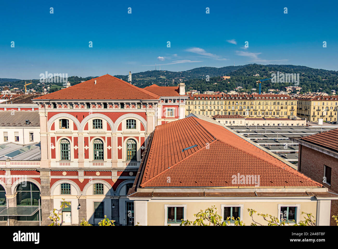 The beautiful exterior of Torino Porta Nuova railway station, the main railway station of Turin and the third busiest station in Italy Stock Photo