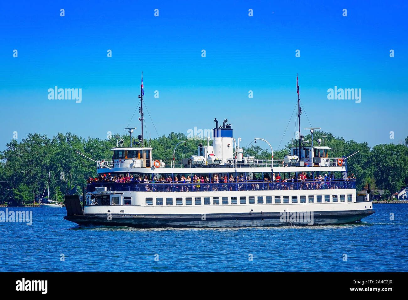 Toronto, Ontario, Canada-10 May, 2019: Toronto Islands Ferry bringing passengers to the Central Toronto Islands and Hanlan's Point Stock Photo