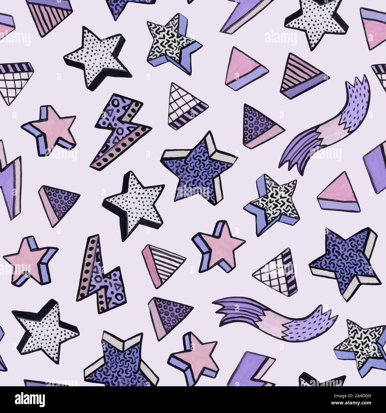 Simple watercolor seamless pattern in minimal memphis style with stars, triangles, stripes. Trendy design for Christmas background, wallpaper, wrappin Stock Photo