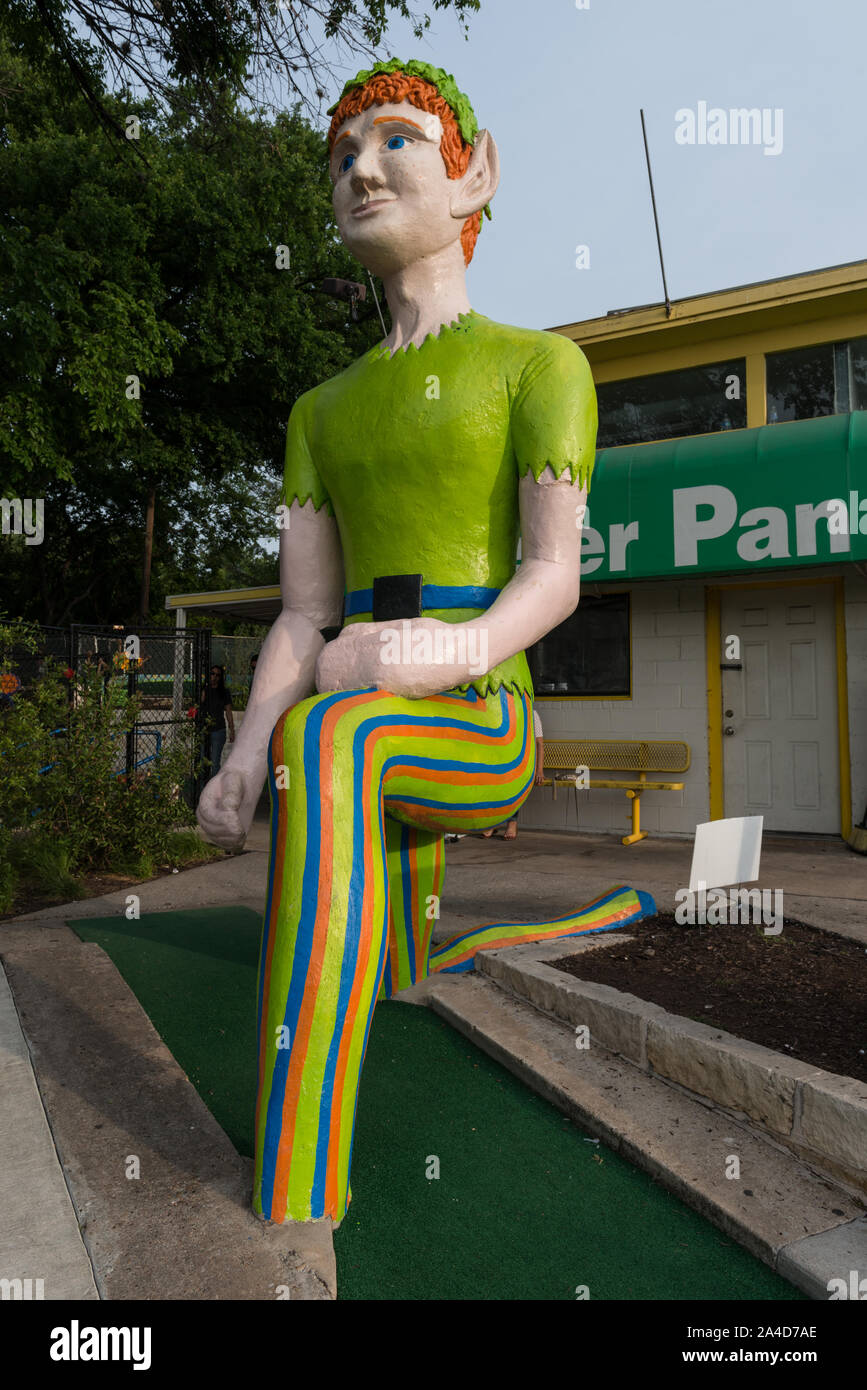 The namesake outsized attraction at the Peter Pan miniature-golf course in Austin, Texas Stock Photo