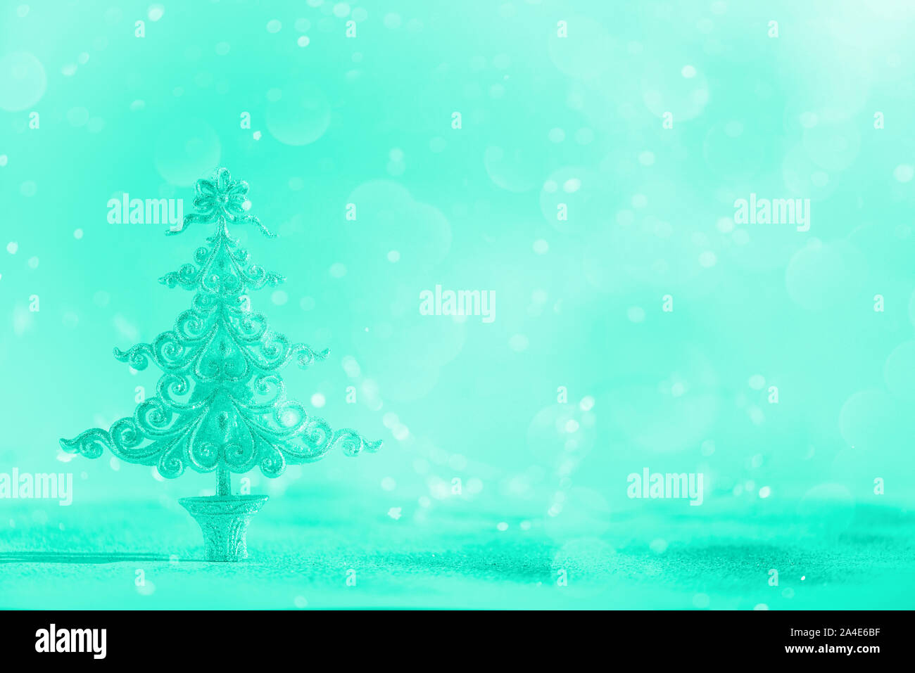 Silver Glitter Christmas Tree On Mint Color Background With Lights Bokeh Copy Space Greeting Card For New Year Party Trendy Green And Turquoise Col Stock Photo Alamy