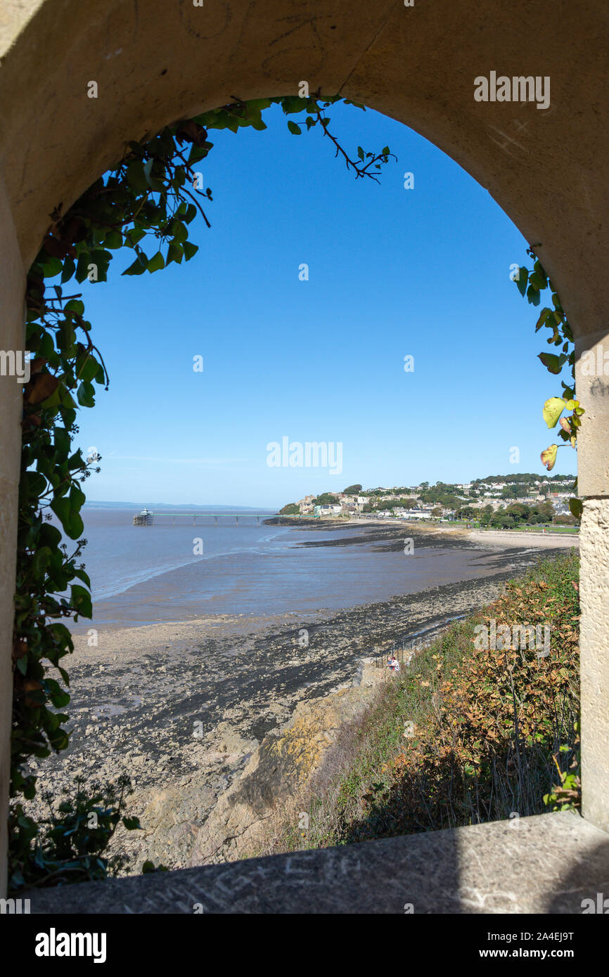 View of beach and pier from 'The Lookout',  Clevedon, Somerset, England, United Kingdom Stock Photo
