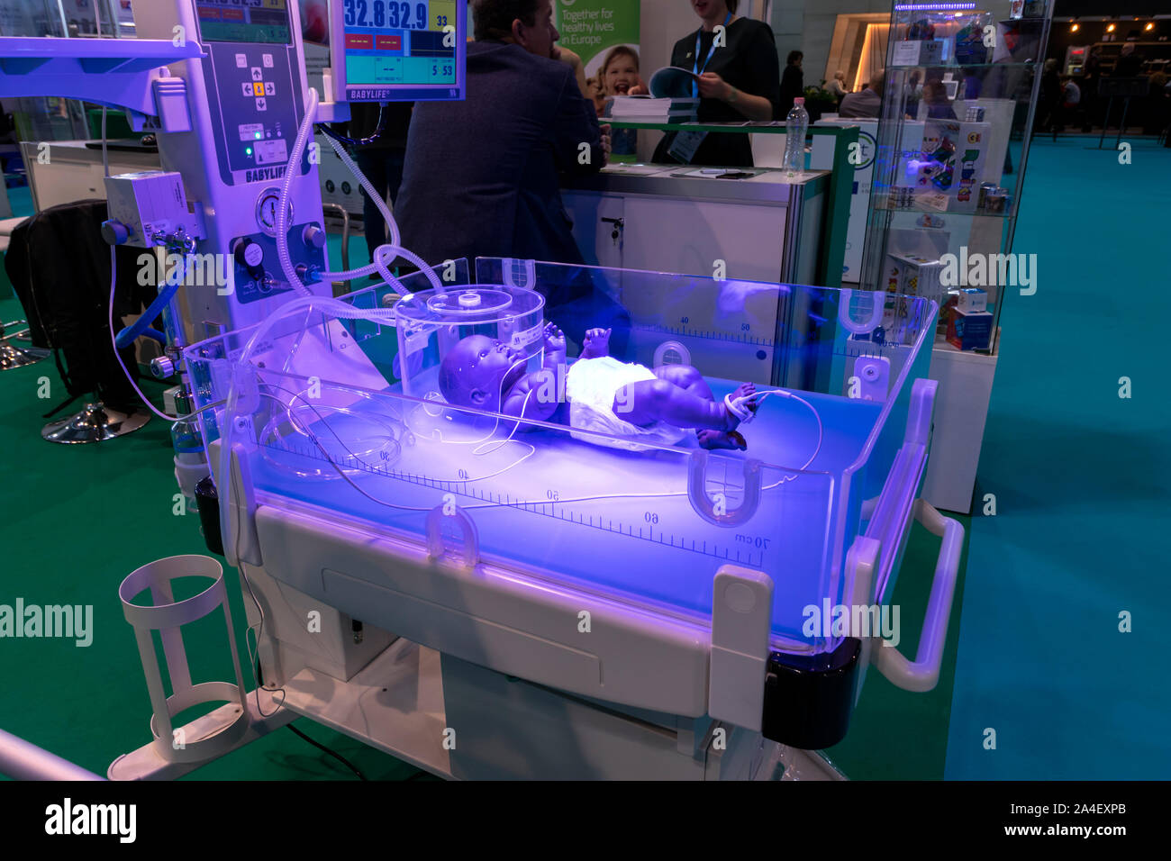 BUDAPEST, HUNGARY / OCTOBER 09, 2019: Hungaromed medical technology trade show. Modern neonatal life support unit on display. Stock Photo