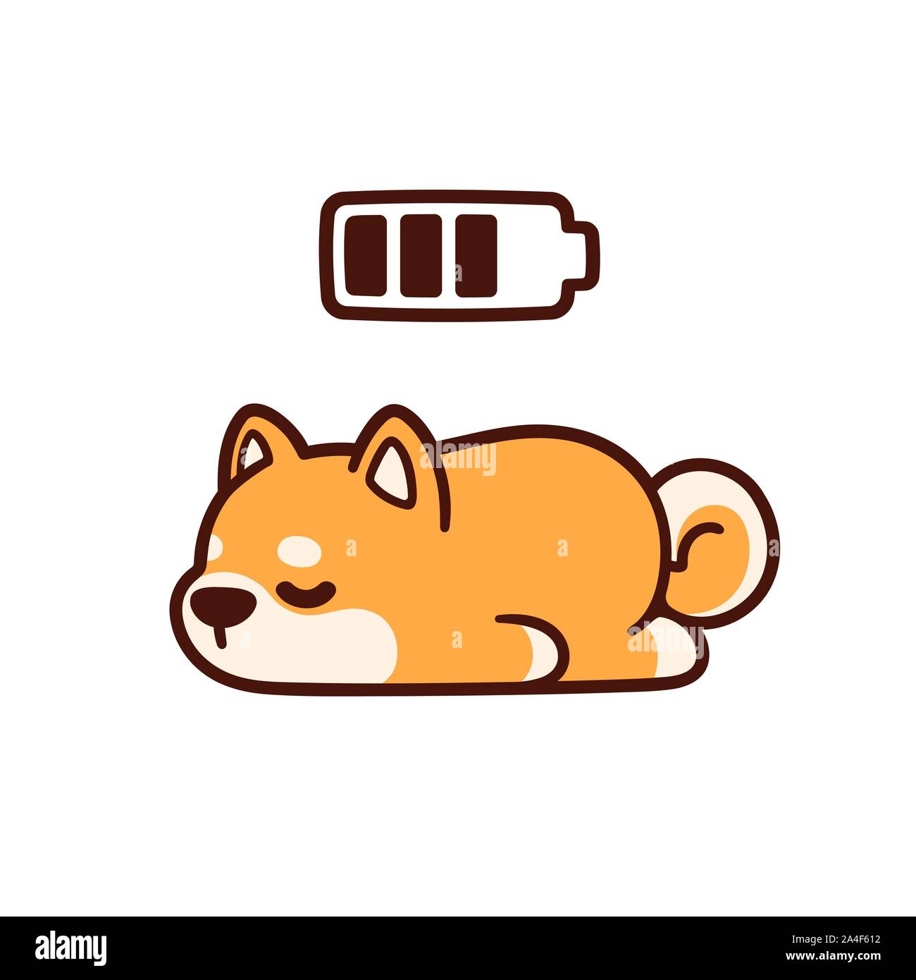 Cute Cartoon Shiba Inu Puppy Taking Power Nap With Charging Battery Adorable Sleeping Dog Drawing Vector Illustration Stock Vector Image Art Alamy