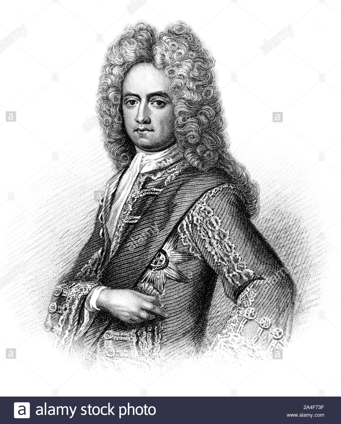 Charles Mordaunt portrait, 3rd Earl of Peterborough and 1st Earl of Monmouth, 1658 – 1735, was an English nobleman and military leader, vintage illustration form 1850 Stock Photo