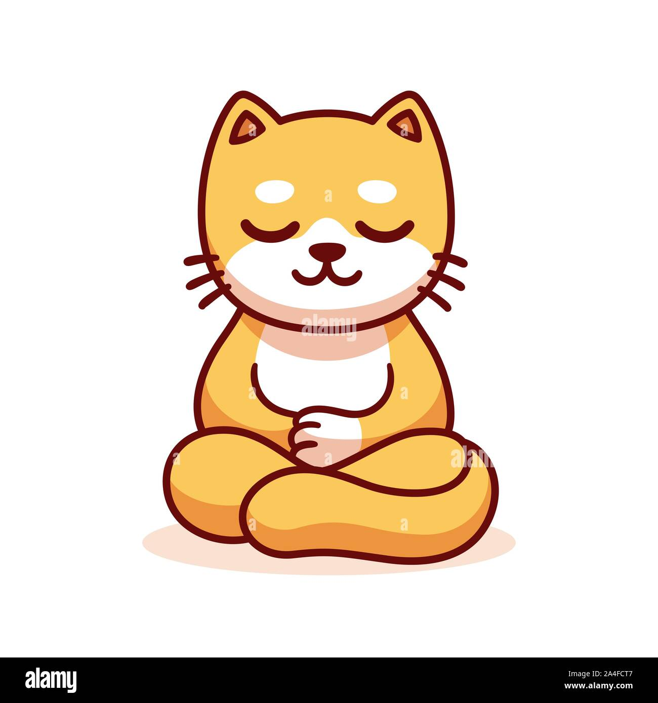 Cat Sitting In Meditation Cartoon Drawing Cute Funny Ginger Kitty Meditating In Lotus Position Vector Clip Art Illustration Stock Vector Image Art Alamy