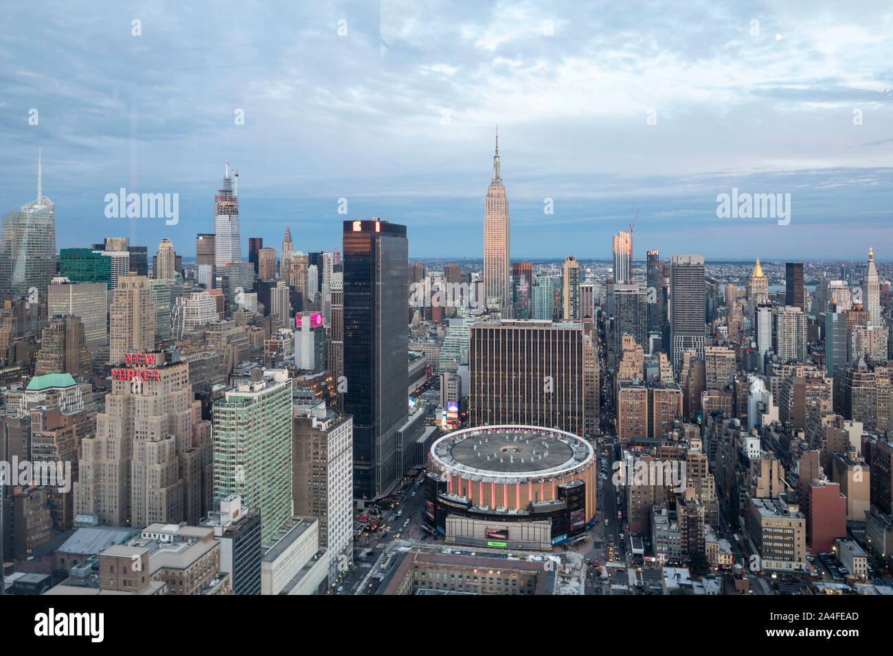 NEW YORK CITY, NY - October 5, 2019: Aerial view of the Madison Square Garden in Manhattan, New York City, NY, USA, looking West. Stock Photo