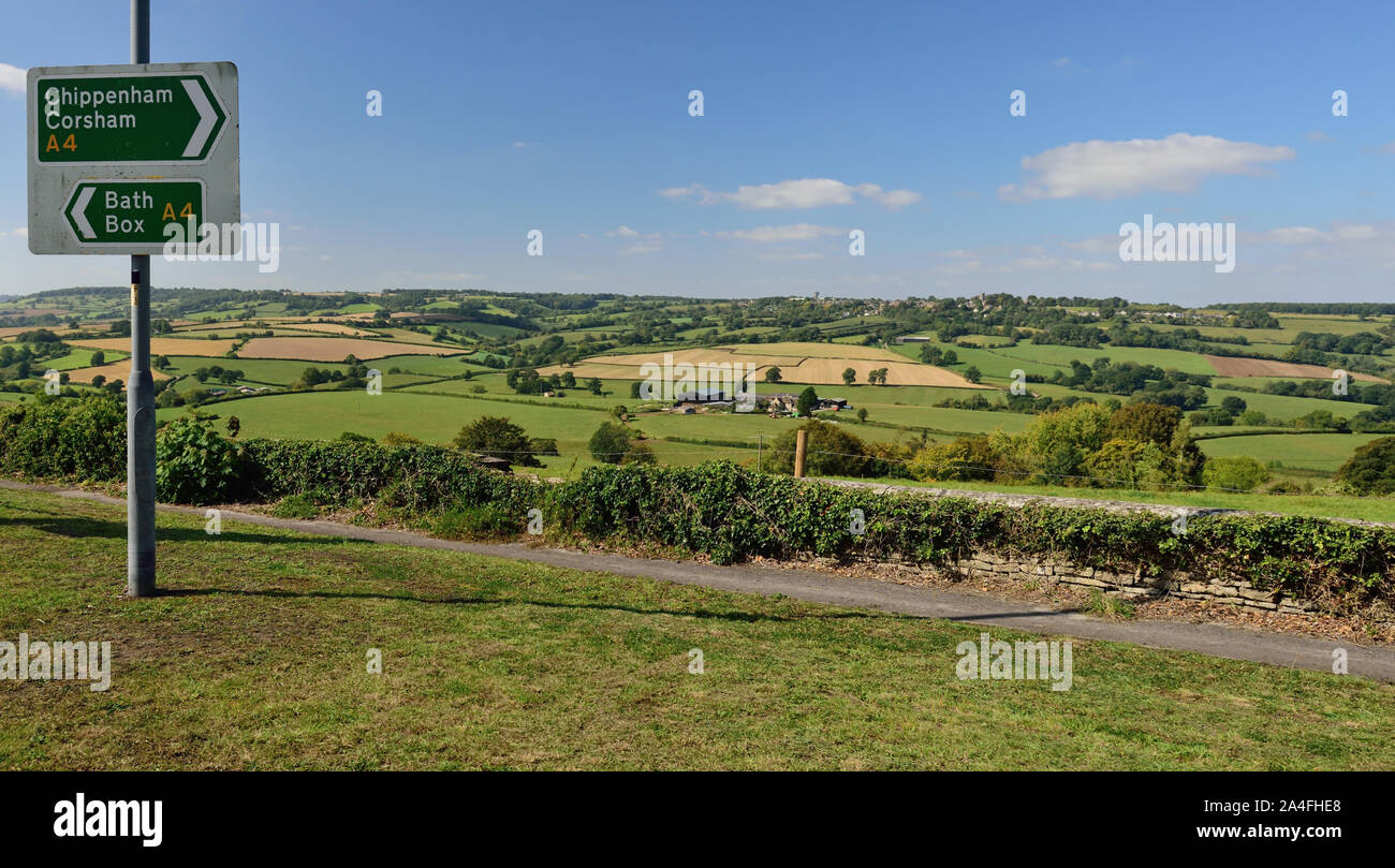 Colerne and the By Brook valley, seen from the A4 road at Rudloe, between Box and Corsham. Stock Photo