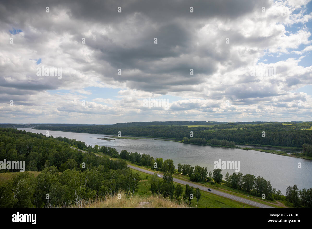 Summer river landscape, view of the river Tom from a height, Siberia, Russia Stock Photo