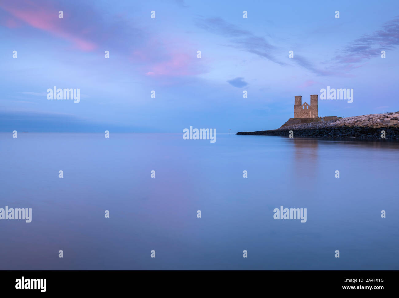 Reculver Towers on the North Kent coast; a medieval church and the site of a Roman fort. Stock Photo