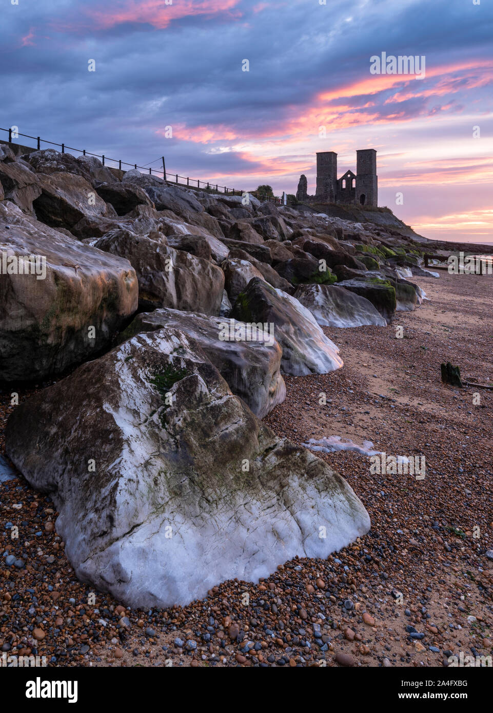 Reculver Towers on the North Kent coast nr Herne Bay at sunset. Stock Photo