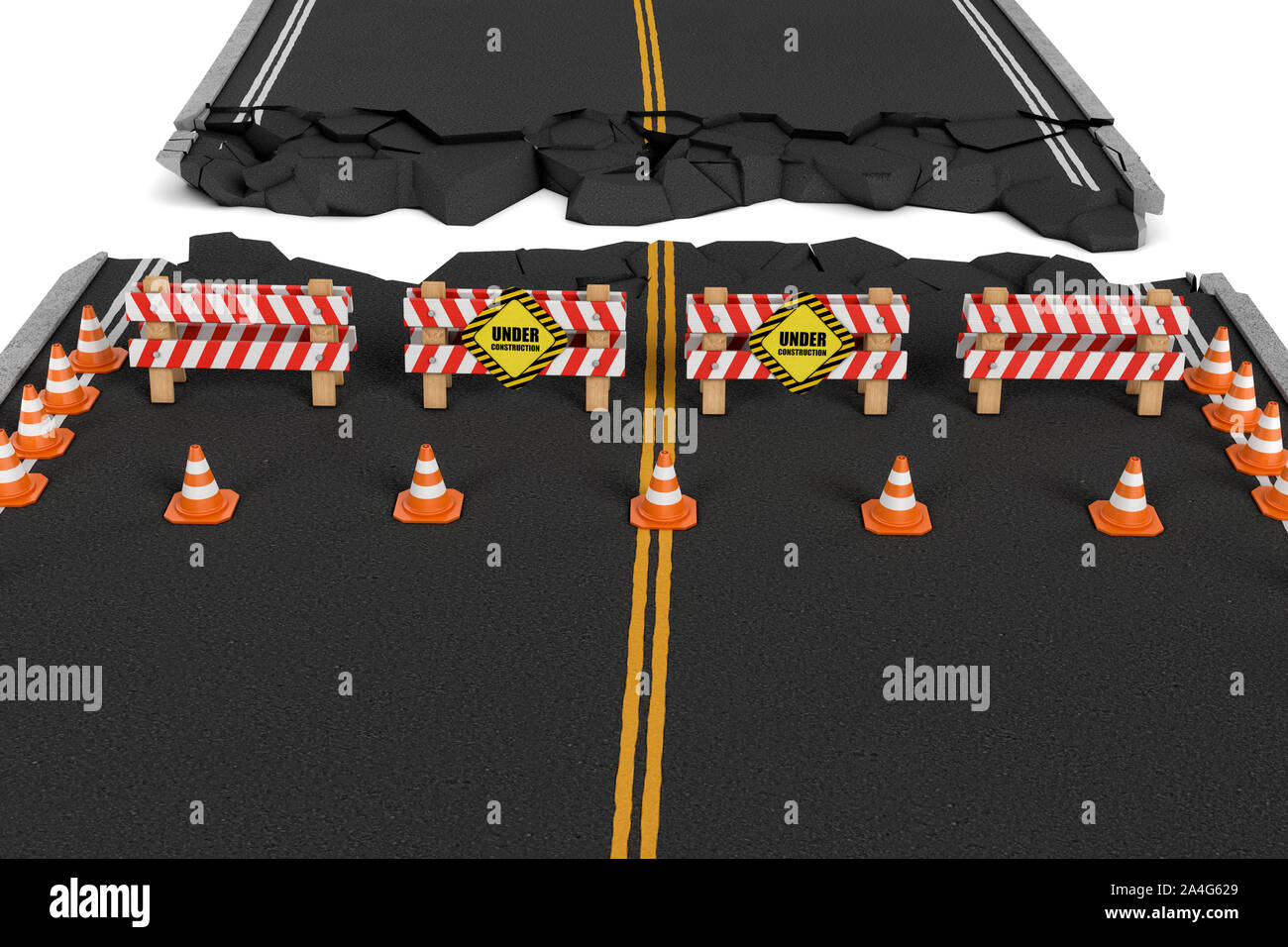 3d rendering of a road closed with the barriers, traffic cones, and caution signs due to roadworks diversion. Asphalting and concreting. Road repair s Stock Photo