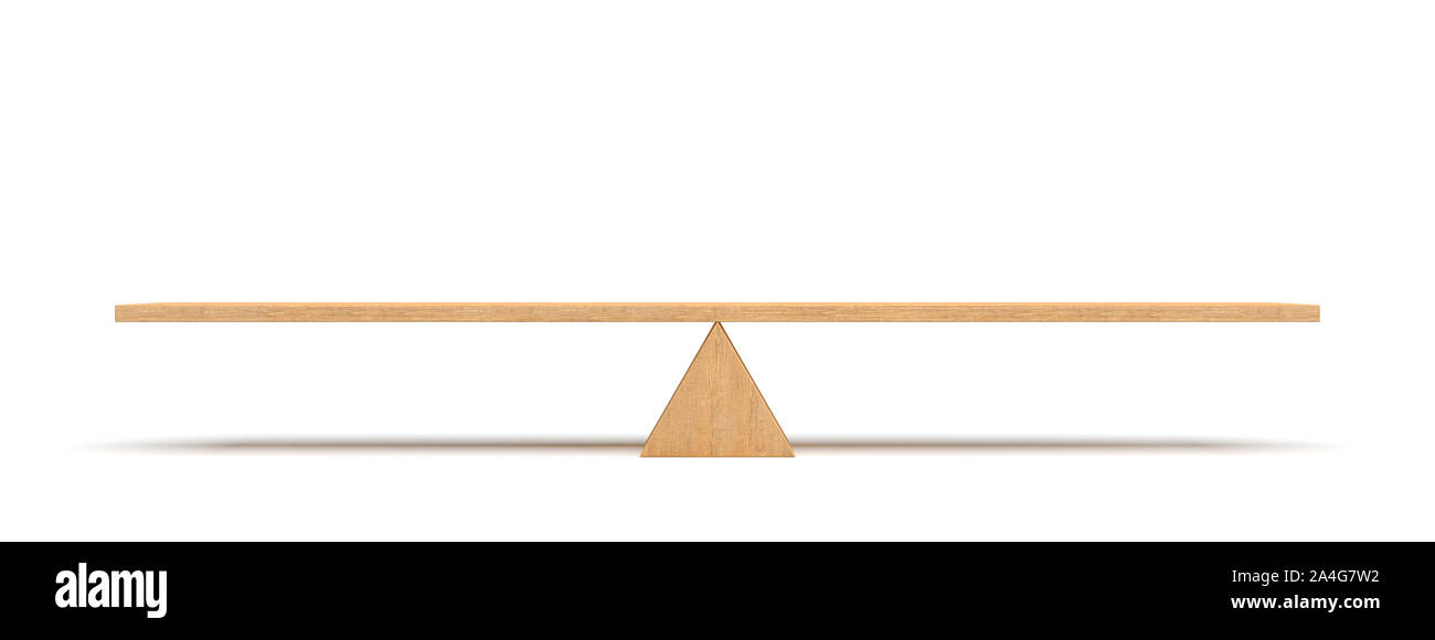 3d rendering of a wooden plank balancing on a wooden triangle isolated on white background. Seesaw and teeter-totter. Equilibrium. Balancing life. Stock Photo