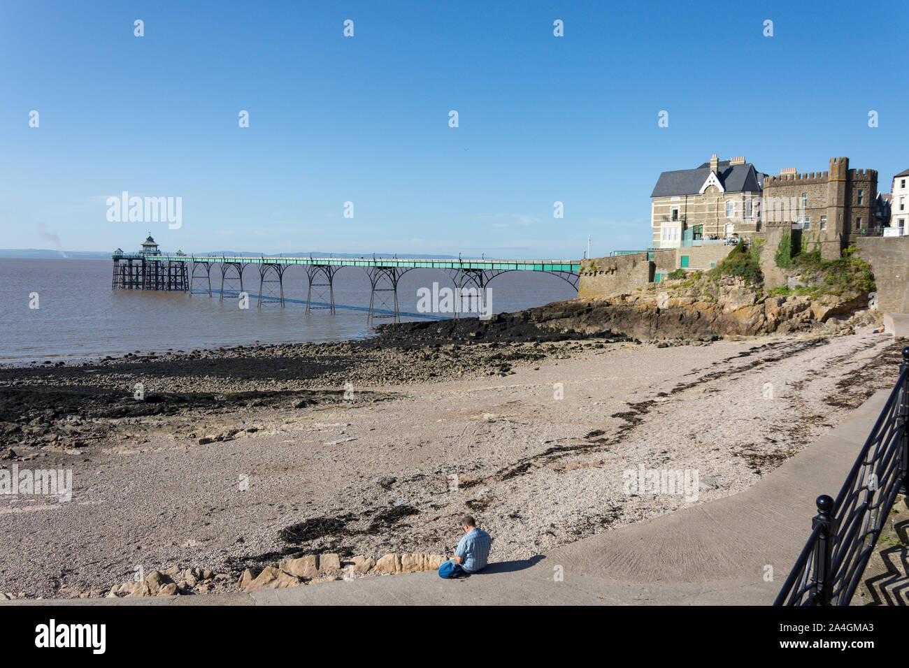 Clevedon Beach and Pier , Clevedon, Somerset, England, United Kingdom Stock Photo